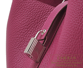Hermes Picotin Lock bag GM Tosca Clemence leather Silver hardware