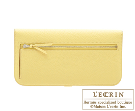 Hermes Dogon LONG Jaune poussin Togo leather Matt silver hardware