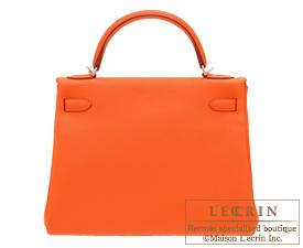 Hermes Kelly bag 32 Feu Togo leather Silver hardware