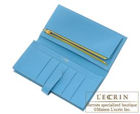 Hermes Personal Bearn Soufflet Anis green/Turquoise blue Chevre myzore goatskin Gold hardware
