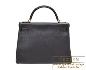 Hermes Kelly bag 32 Retourne Prunoir Clemence leather Gold hardware