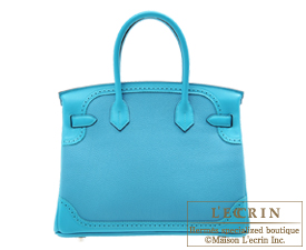 Hermes Birkin Ghillies bag 30 Turquoise blue Togo leather/Swift leather Silver hardware
