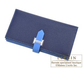 Hermes Bearn Soufflet Bi-color Blue saphir/Blue paradise Epsom leather Silver hardware