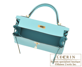 Hermes Kelly bag 28 Blue atoll Togo leather Gold hardware
