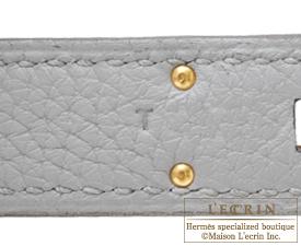Hermes Kelly bag 32 Retourne Blue glacier Togo leather Gold hardware