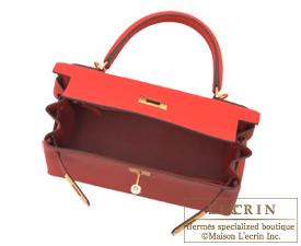 Hermes Kelly bag 28 Vermillon Togo leather Gold hardware