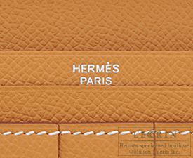 Hermes Bearn Soufflet Caramel/Paille Epsom leather/Tadelakt leather Silver hardware