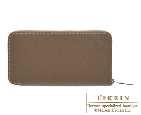 Hermes Azap long Etoupe grey Chevre myzore goatskin Silver hardware