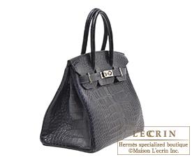 aa25bc9dd66 ... Hermes Birkin bag 30 Blue marine Matt alligator crocodile skin Silver  hardware
