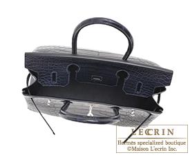 Hermes Birkin bag 30 Blue marine Matt alligator crocodile skin Silver hardware