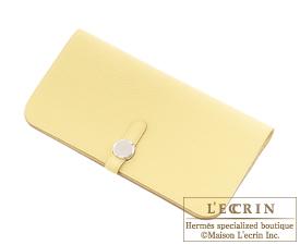Hermes Dogon LONG Jaune poussin Togo leather Silver hardware