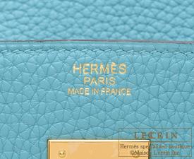Hermes Birkin bag 30 Blue Saint-Cyr Clemence leather Gold hardware