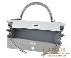 Hermes Kelly bag 28 Blue glacier Togo leather Silver hardware