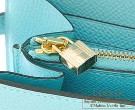 Hermes Kelly wallet long Blue atoll Epsom leather Gold hardware
