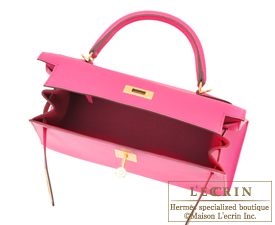 Hermes Kelly bag 28 Rose shocking Chevre myzore goatskin Gold hardware