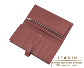 Hermes Bearn Soufflet Rouse casaque/Rouge H Epsom leather Silver hardware