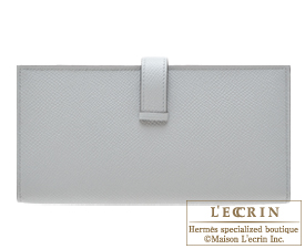 Hermes Bearn Soufflet Blue glacier Epsom leather Silver hardware