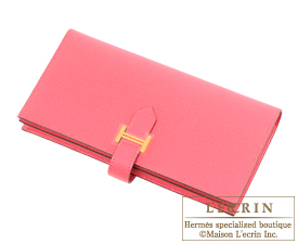 Hermes Bearn Soufflet Rose azalee Epsom leather Gold hardware