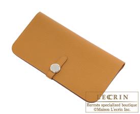 Hermes Dogon LONG Caramel Togo leather Silver hardware