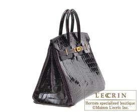 Hermes Birkin bag 25 Prunoir Niloticus crocodile skin Gold hardware ... 7b62cf3f325f2
