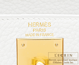 Hermes Kelly bag 28 White Clemence leather Gold hardware