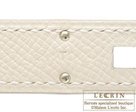 Hermes Kelly bag 32 Craie Epsom leather Silver hardware
