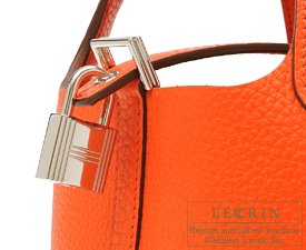 Hermes Picotin Lock bag PM Orange poppy Clemence leather Silver hardware