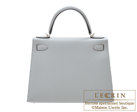 Hermes Kelly bag 28 Blue glacier Epsom leather Silver hardware