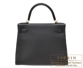 Hermes Kelly bag 28 Plomb Clemence leather Gold hardware