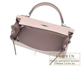 Hermes Kelly bag 28 Glycine Clemence leather Silver hardware