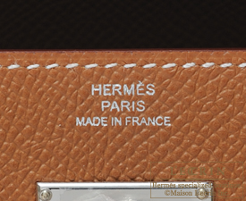 Hermes Kelly wallet long Gold Epsom leather Silver hardware