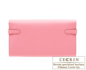 Hermes Kelly wallet long Rose confetti Epsom leather Gold hardware