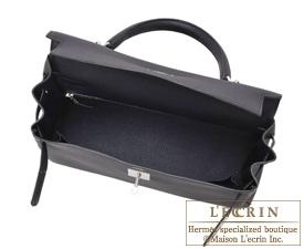 Hermes Kelly bag 32 Blue indigo Togo leather Silver hardware