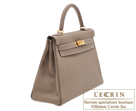 Hermes Kelly bag 32 Etoup grey Togo leather Gold hardware