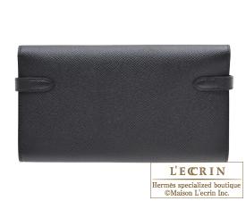 47562c16a9d Hermes Kelly wallet long Black Epsom leather Silver hardware ...