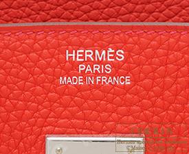 Hermes Birkin bag 35 Rouge tomate Clemence leather Silver hardware