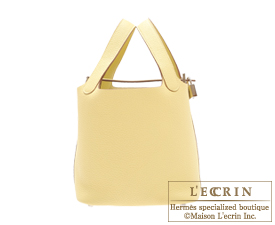 Hermes Picotin Lock bag PM Jaune poussin Clemence leather Silver hardware