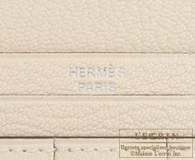 Hermes Bearn Soufflet Parchemin Ostrich leather Silver hardware