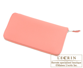 Hermes Azap long Rose candy Togo leather Silver hardware