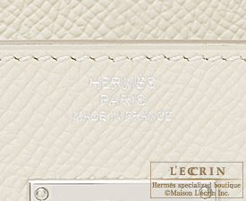 Hermes Kelly wallet long Craie Epsom leather Silver hardware