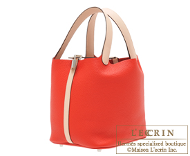 Hermes Picotin Lock Touch bag MM Rouge tomate/Rose eglantine Clemence leather/ Swift leather Silver hardware