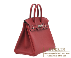 Hermes Birkin bag 25 Rouge grenat Togo leather Silver hardware