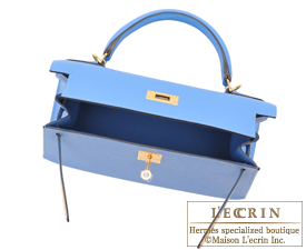 Hermes Kelly bag 28 Blue paradise Epsom leather Gold hardware