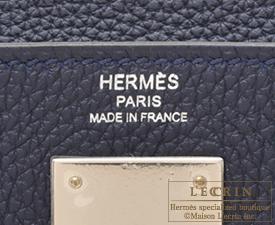 Hermes Kelly bag 28 Blue nuit Togo leather Silver hardware
