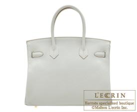 Hermes Birkin bag 30 Pearl grey Clemence leather Gold hardware