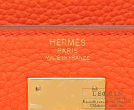 Hermes Kelly bag 28 Orange poppy Clemence leather Gold hardware