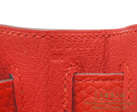 Hermes Kelly bag 28 Rouge tomate Clemence leather Silver hardware