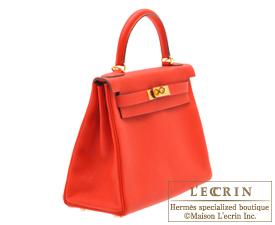 Hermes Kelly bag 28 Rouge tomate Clemence leather Gold hardware