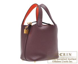 Hermes Picotin Lock Eclat bag PM Prune/Orange poppy Clemence leather/Swift leather Gold hardware