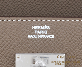 Hermes Kelly wallet long Etoupe grey Epsom leather Silver hardware